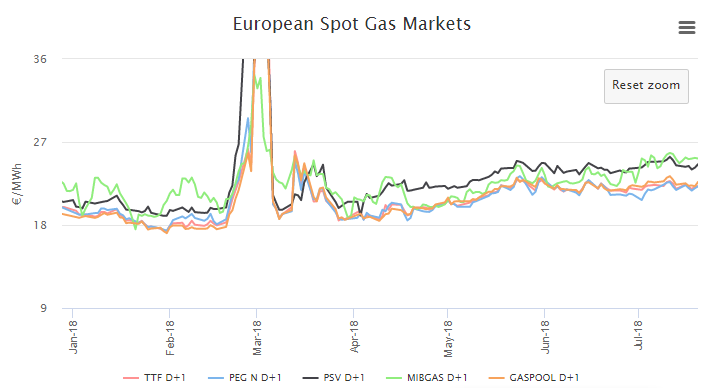 Figure 2 - Evolution of SPOT Gas prices. SOURCE: MTECH