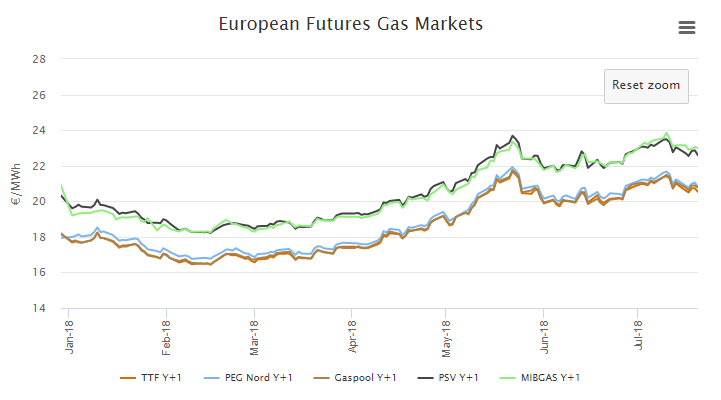 Figure 3 – Evolution of Future Gas prices. SOURCE: MTECH